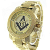 Masonic/Mason stainless bling watch silver or gold