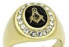 Stainless Steel Masonic Oval Ring with encircled with CZ stones